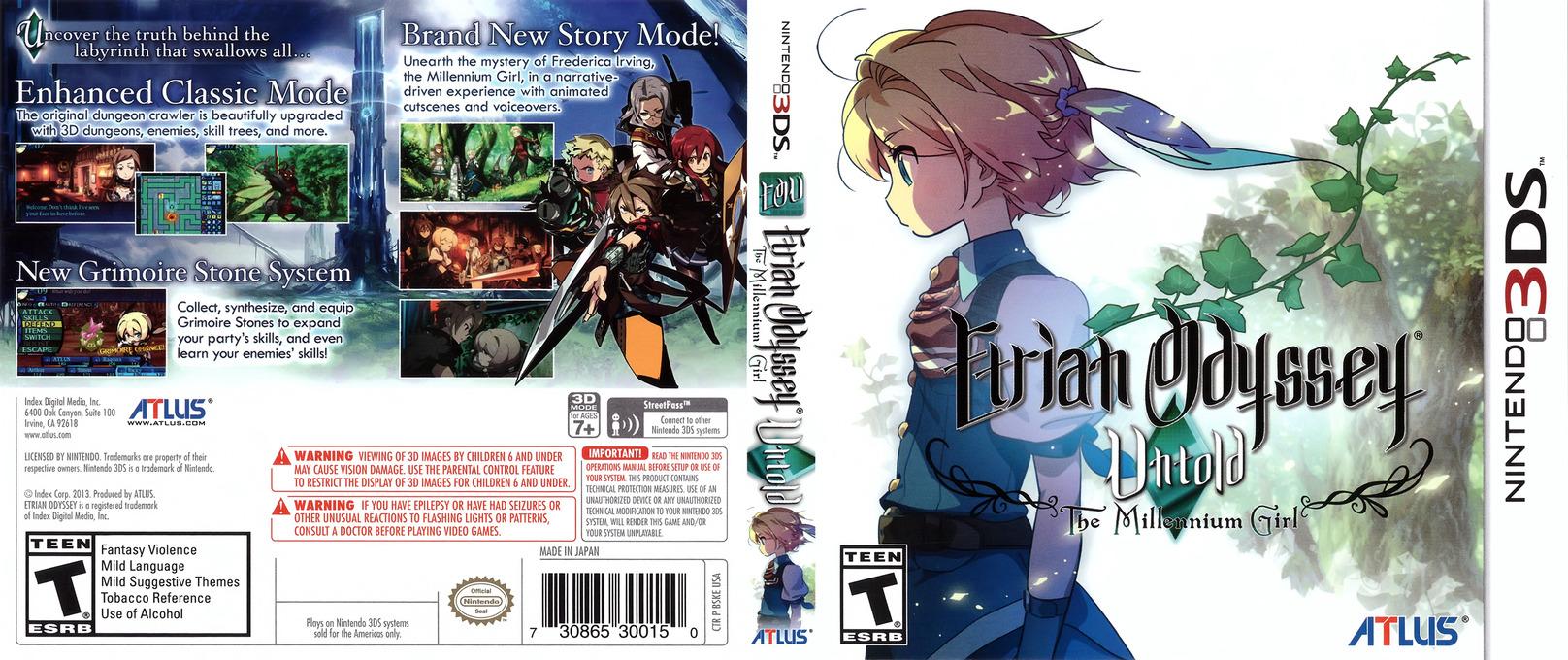 Etrian Odyssey Untold - The Millennium Girl 3DS coverfullHQ (BSKE)