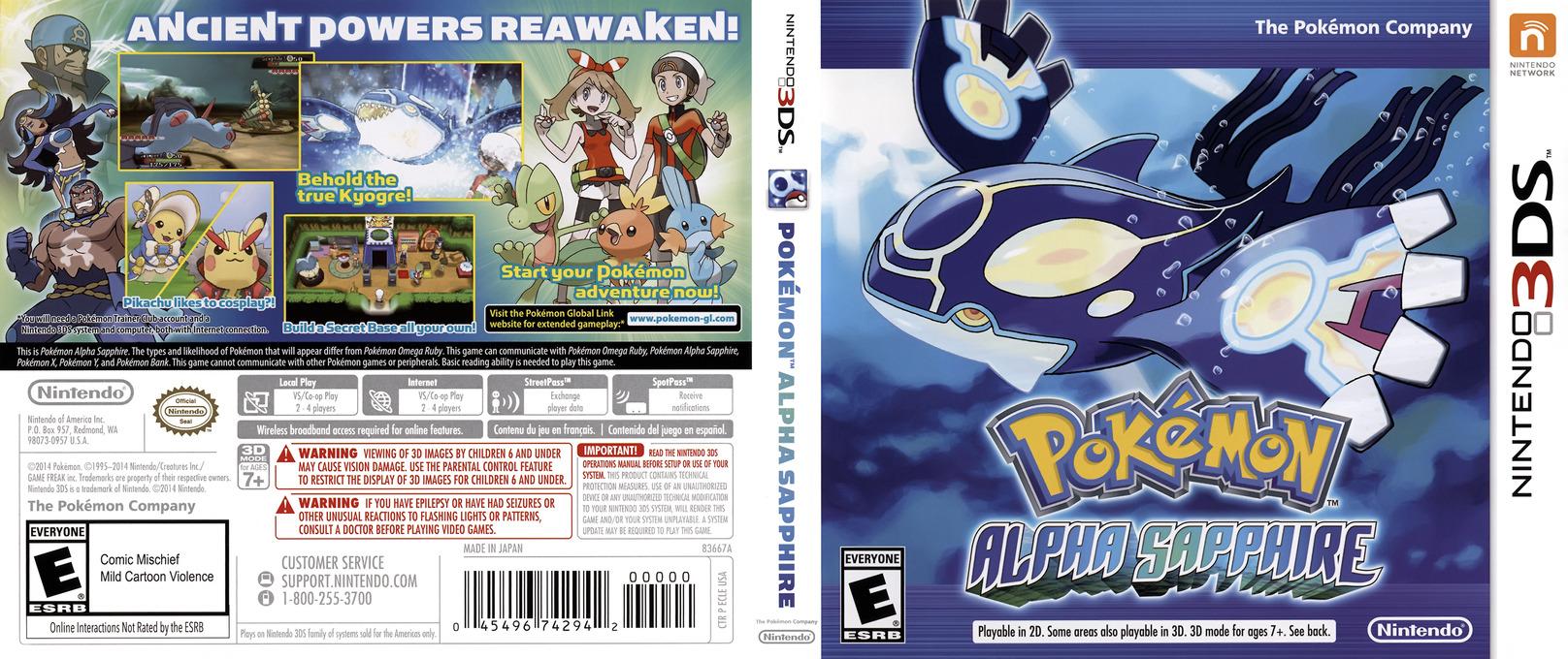 Pokémon Alpha Sapphire 3DS coverfullHQ (ECLE)