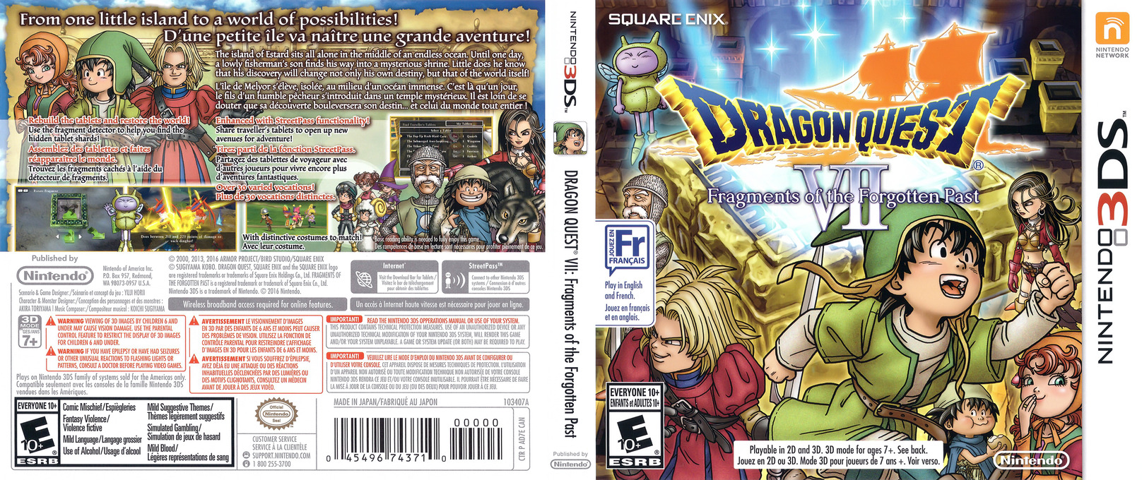 Dragon Quest VII: Fragments of the Forgotten Past 3DS coverfullHQ (AD7E)