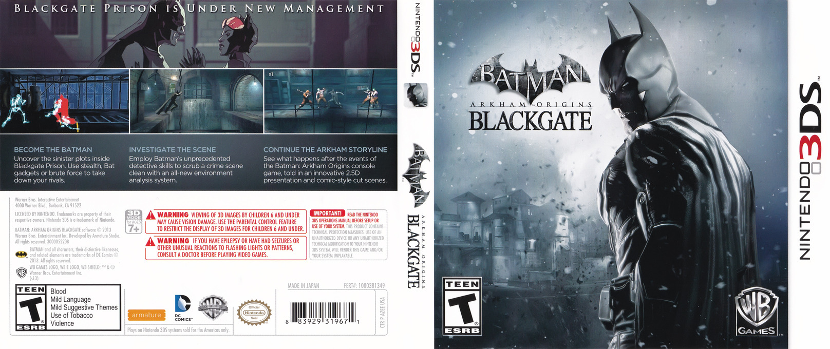 Batman - Arkham Origins Blackgate 3DS coverfullHQB (AZEE)