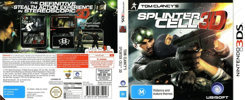 Tom Clancy's Splinter Cell 3D 3DS coverfullM (ASCP)