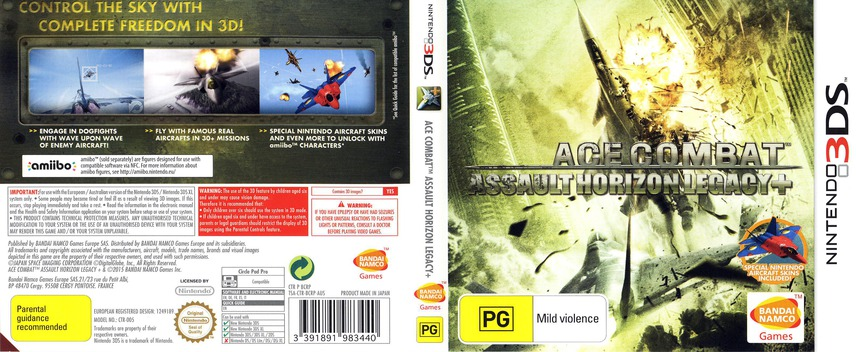 Ace Combat - Assault Horizon Legacy+ 3DS coverfullM (BCRP)