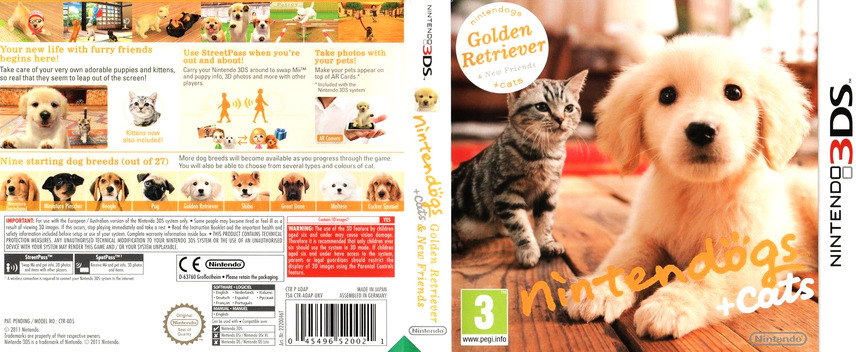 Nintendogs + Cats - Golden Retriever & New Friends 3DS coverfullM (ADAP)