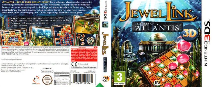 Jewel Link - Legends of Atlantis 3DS coverfullM (AJ5P)