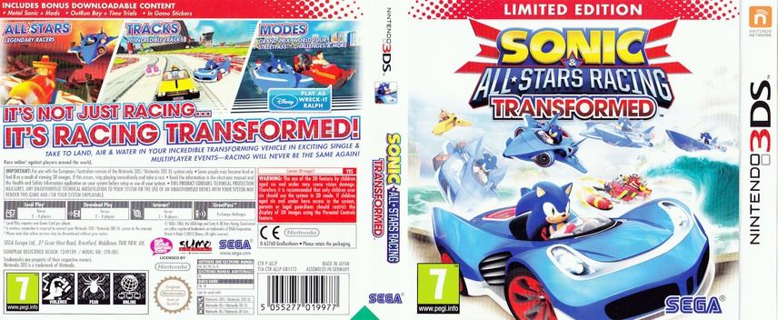 Sonic & All-Stars Racing Transformed 3DS coverfullM (ALLP)