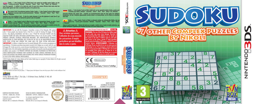 Sudoku + 7 Other Complex Puzzles by Nikoli 3DS coverfullM (ANQP)