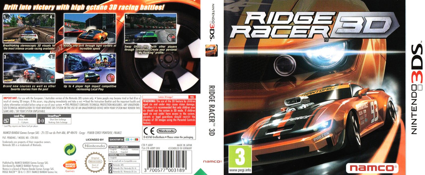 Ridge Racer 3D 3DS coverfullM (ARRP)