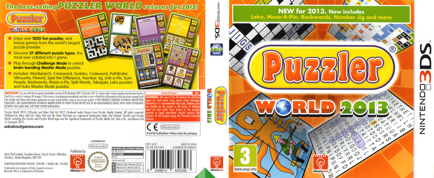Puzzler World 2013 3DS coverfullM (AZLP)