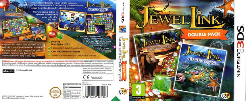 Jewel Link Double Pack - Safari Quest and Atlantic Quest 3DS coverfullM (BJLP)