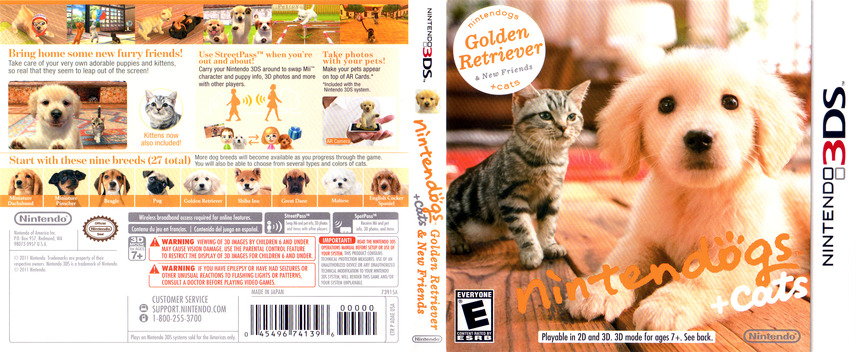 Nintendogs + Cats - Golden Retriever & New Friends 3DS coverfullM (ADAE)