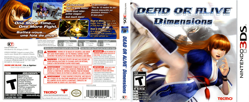 Dead or Alive - Dimensions 3DS coverfullM (ADDE)