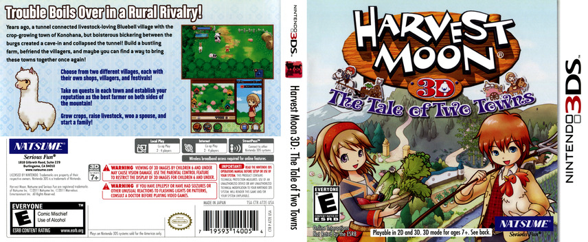 Harvest Moon 3D - The Tale of Two Towns 3DS coverfullM (AT2E)