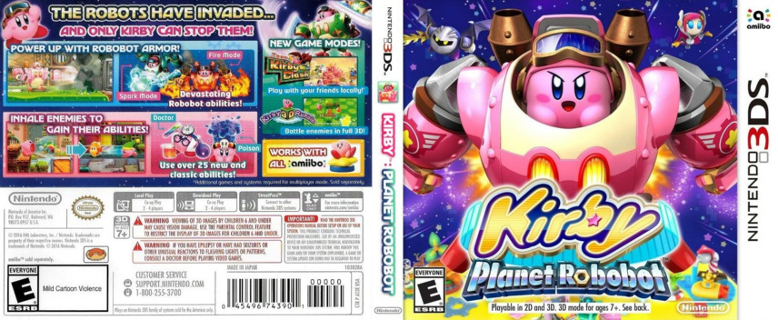 Kirby: Planet Robobot 3DS coverfullM (AT3E)