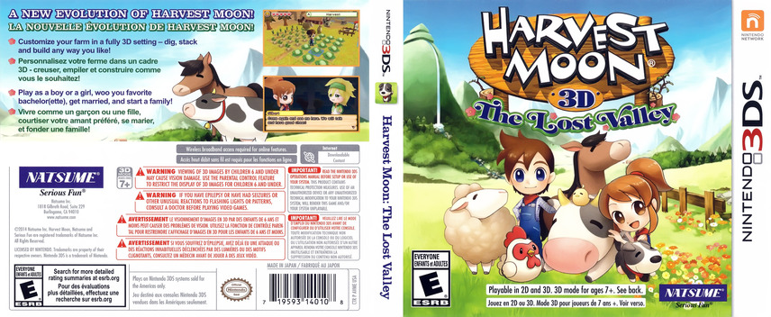 Harvest Moon 3D - The Lost Valley 3DS coverfullM (AVME)