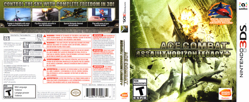 Ace Combat - Assault Horizon Legacy+ 3DS coverfullM (BCRE)