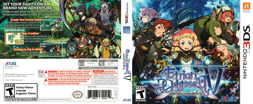 Etrian Odyssey V: Beyond the Myth 3DS coverfullM (BMZE)