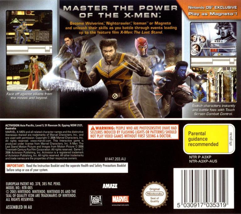 X-Men - The Official Game DS backHQ (A3XP)