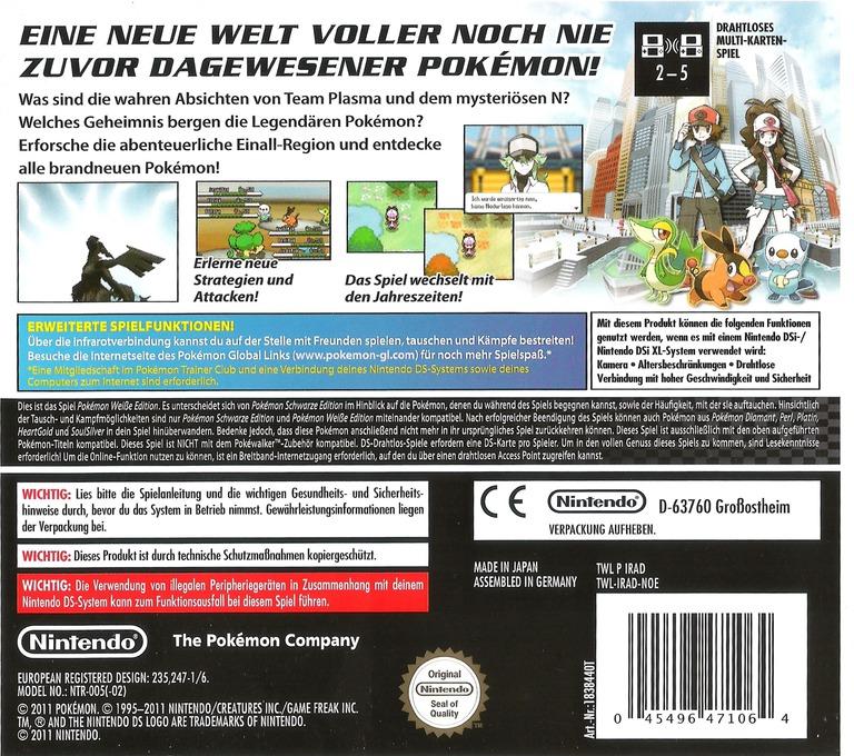 Pokémon - Weisse Edition DS backHQ (IRAD)