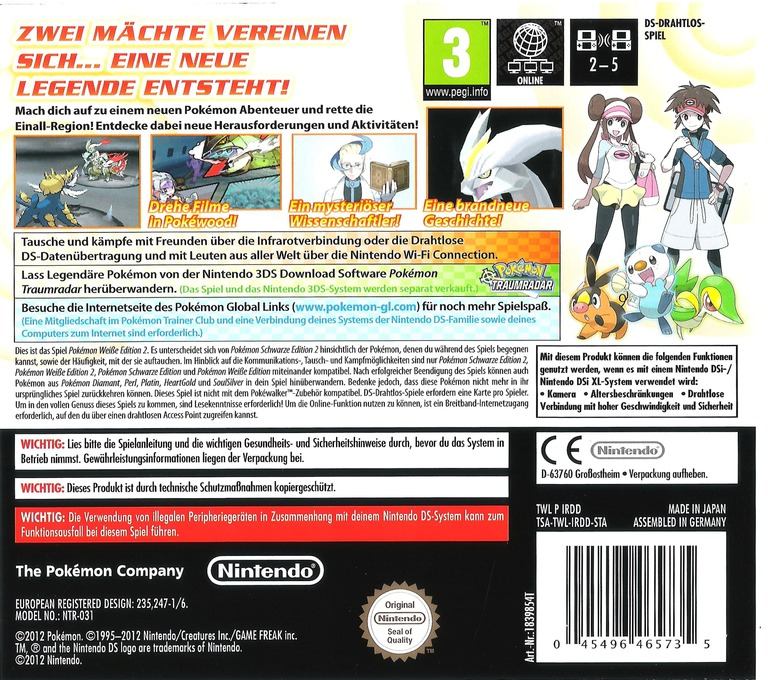 Pokémon - Weisse Edition 2 DS backHQ (IRDD)