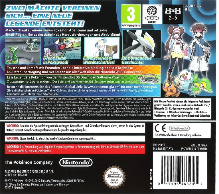 Pokémon - Schwarze Edition 2 DS backHQ (IRED)