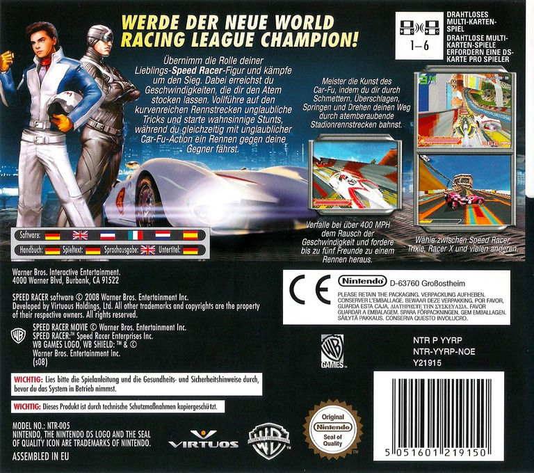 Speed Racer - The Videogame DS backHQ (YYRP)