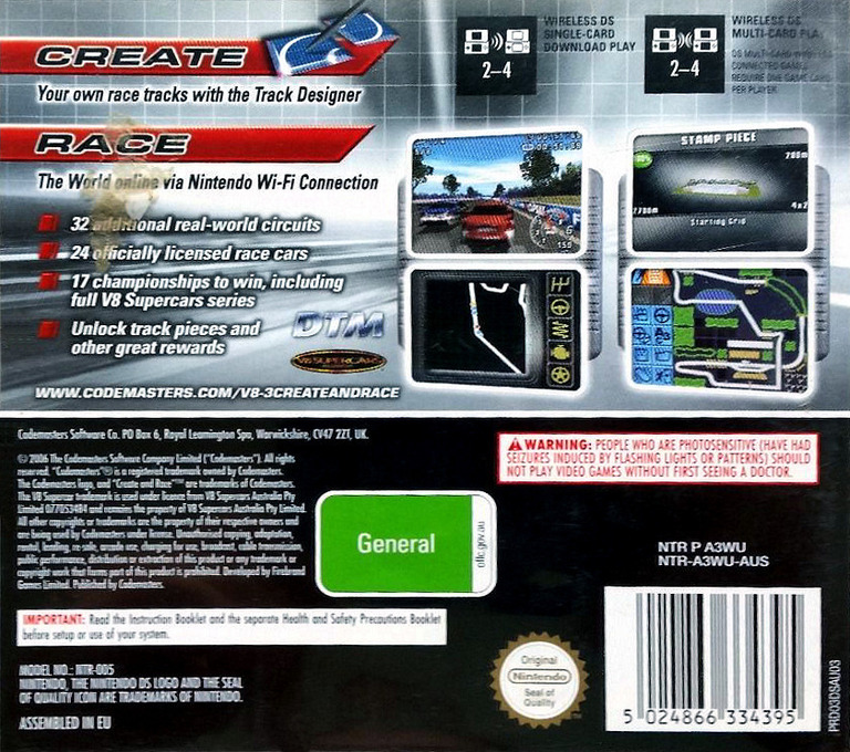 V8 Supercars Australia 3 - Create & Race DS backHQ (A3WU)