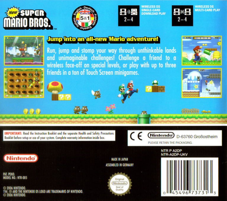 New Super Mario Bros. (Demo) DS backHQ (A85P)