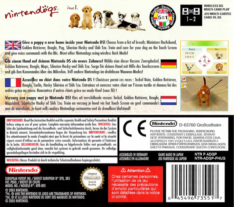 Nintendogs - Dachshund & Friends DS backHQ (ADGP)