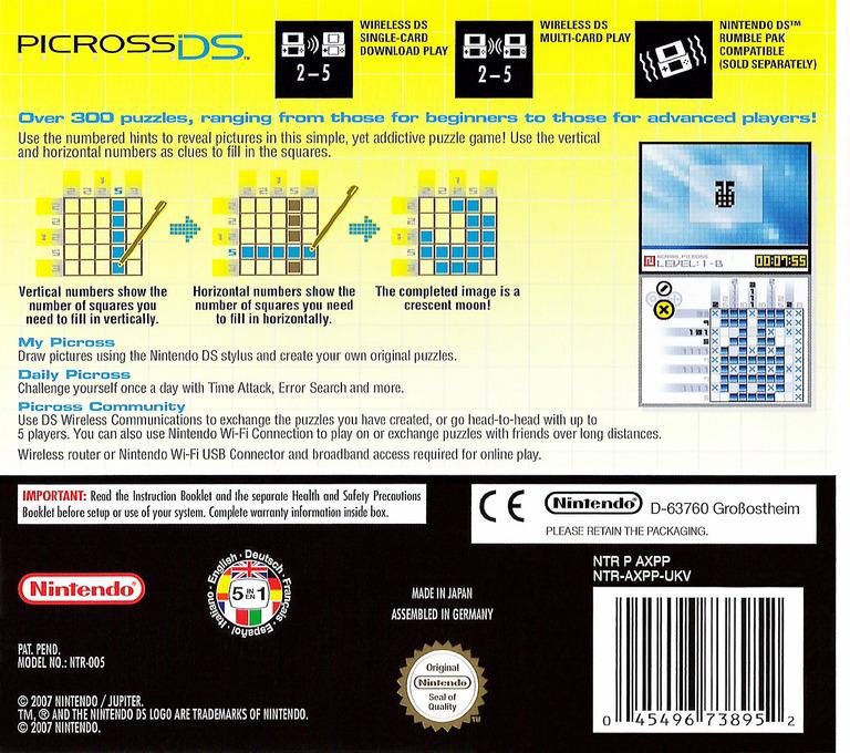 Picross DS DS backHQ (AXPP)