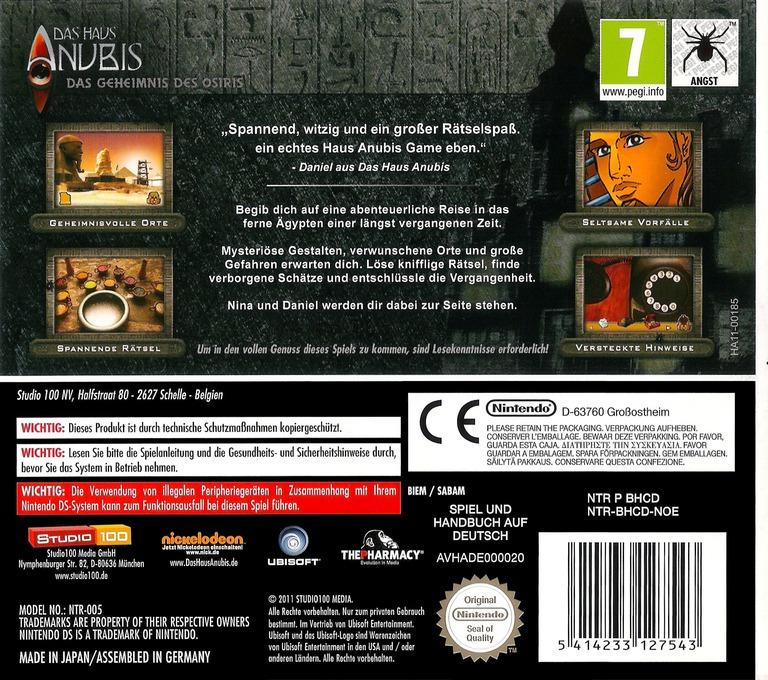 Das Haus Anubis - Das Geheimnis des Osiris DS backHQ (BHCD)