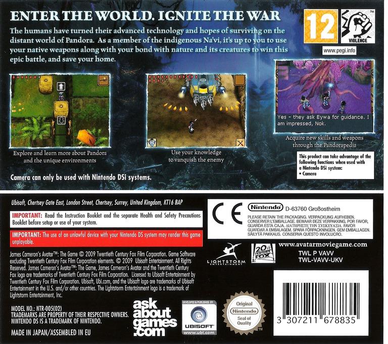 James Cameron's Avatar - The Game DS backHQ (VAVV)