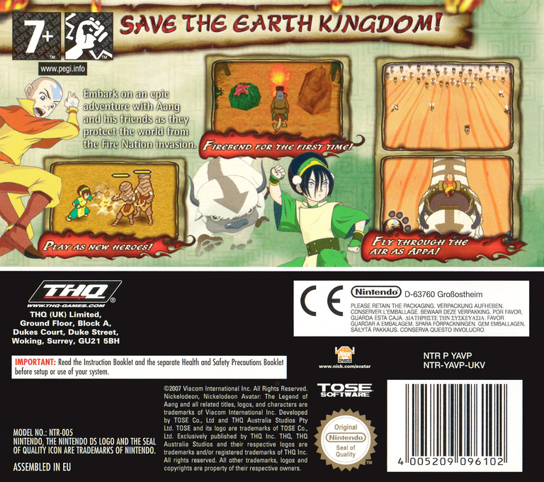 avatar the burning earth ds