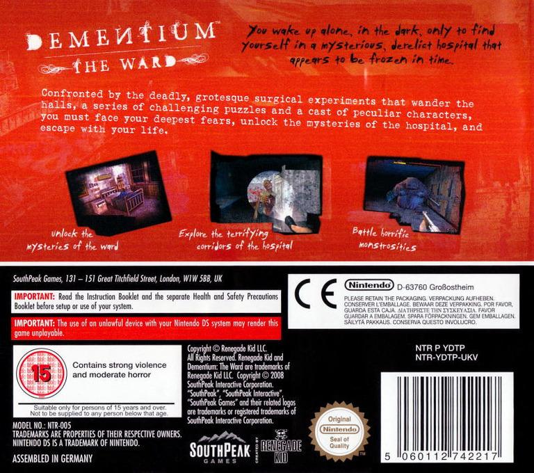 Dementium - The Ward DS backHQ (YDTP)