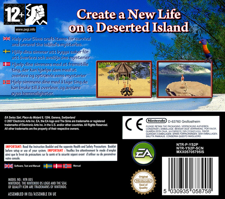 The Sims 2 - Castaway DS backHQ (YS2P)
