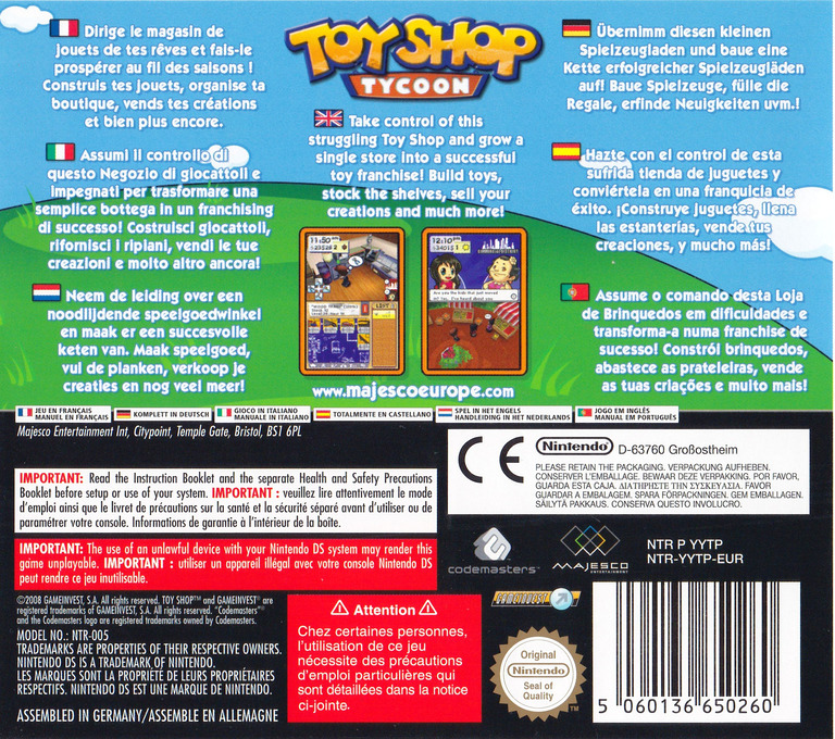 Toy Shop Tycoon DS backHQ (YYTP)