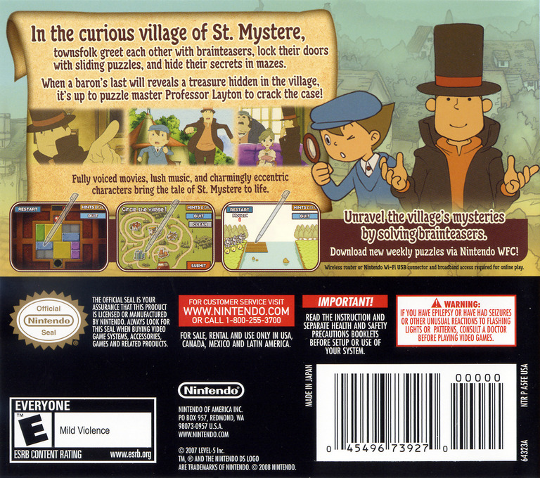 Professor Layton and the Curious Village DS backHQ (A5FE)