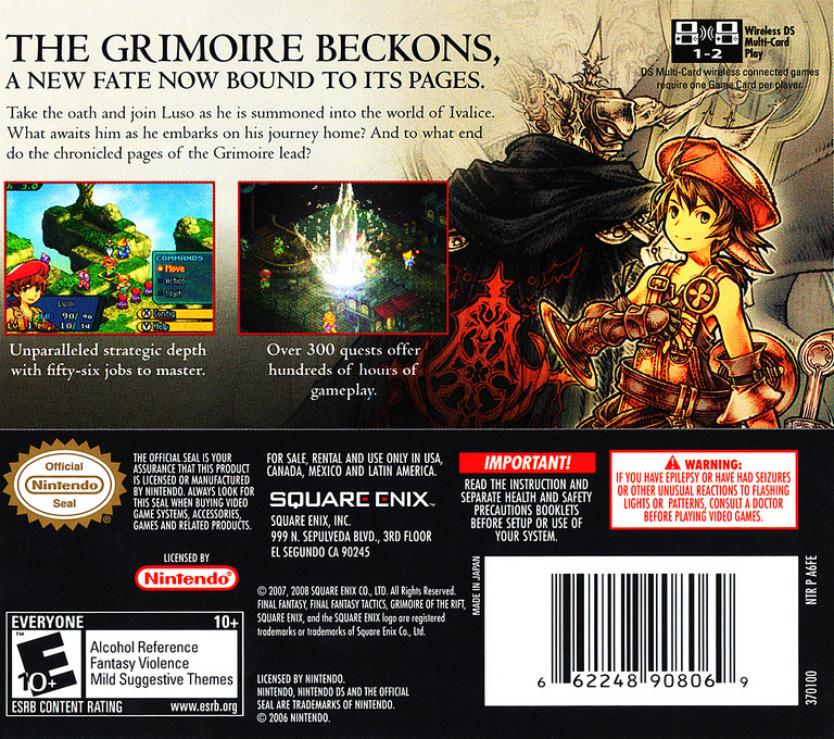 Final Fantasy Tactics A2 - Grimoire of the Rift DS backHQ (A6FE)
