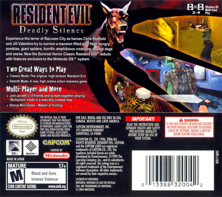 Resident Evil - Deadly Silence DS backHQ (ABHE)