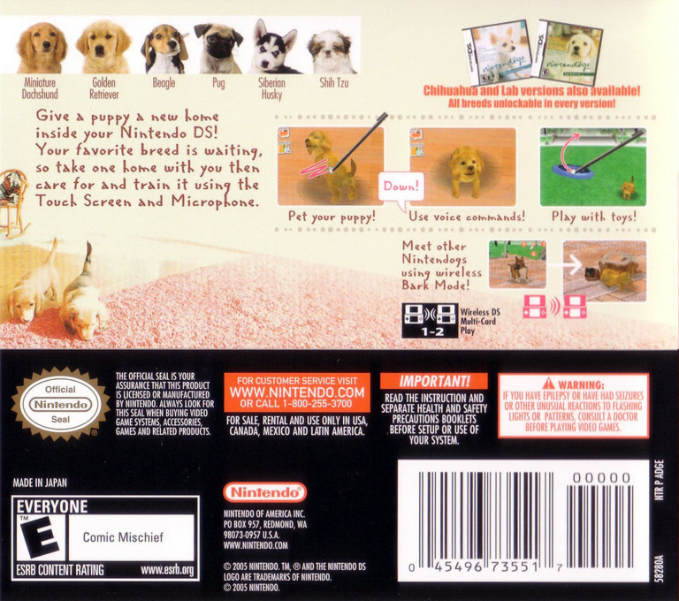 Nintendogs - Dachshund & Friends DS backHQ (ADGE)