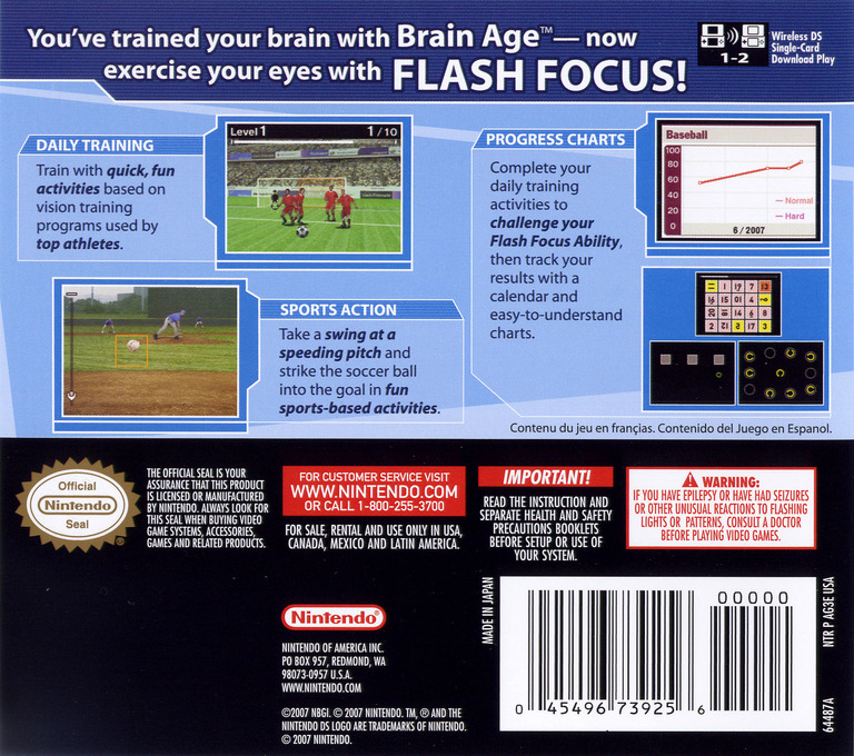 Flash Focus - Vision Training in Minutes a Day DS backHQ (AG3E)