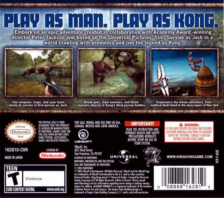 Peter Jackson's King Kong - The Official Game of the Movie DS backHQ (AKQE)