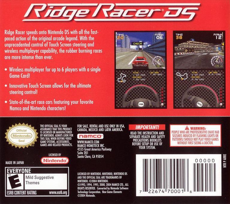 Ridge Racer DS DS backHQ (ARRE)