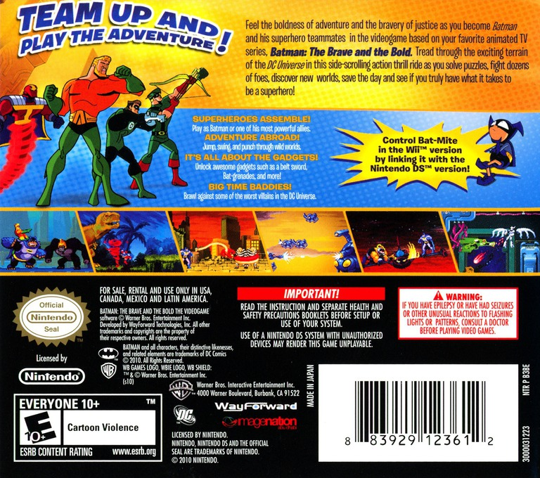 Batman - The Brave and the Bold - The Videogame DS backHQ (B3BE)