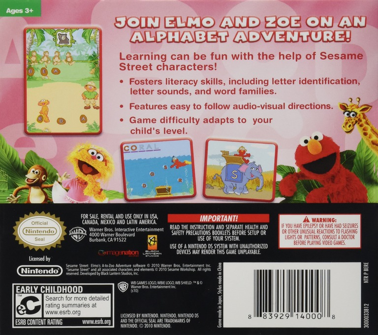 Sesame Street - Elmo's A-to-Zoo Adventure - The Videogame DS backHQ (BERE)