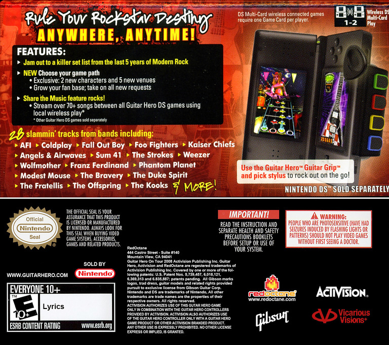 Guitar Hero - On Tour - Modern Hits DS backHQ (C6QE)