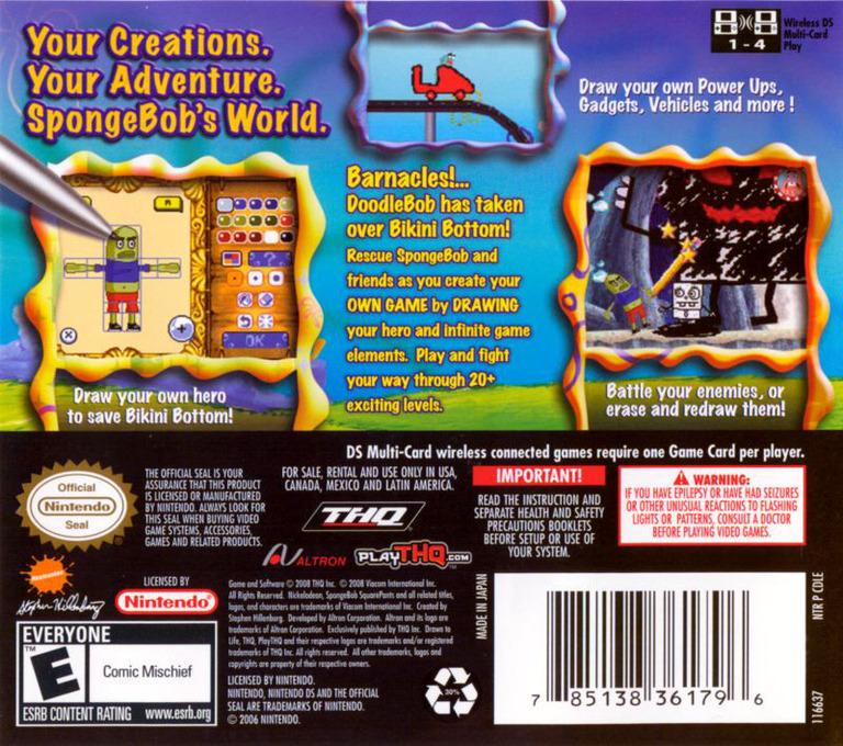 Drawn to Life - SpongeBob SquarePants Edition DS backHQ (CDLE)