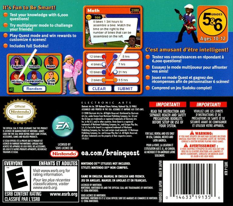 Brain Quest - Grades 5 & 6 DS backHQ (CQBE)