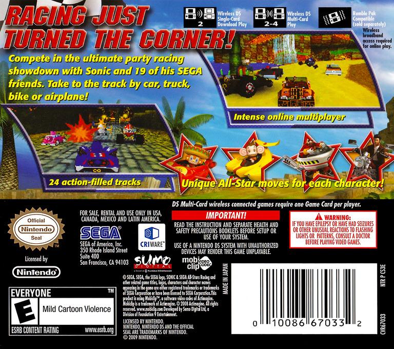 Sonic & Sega All-Stars Racing DS backHQ (CS3E)