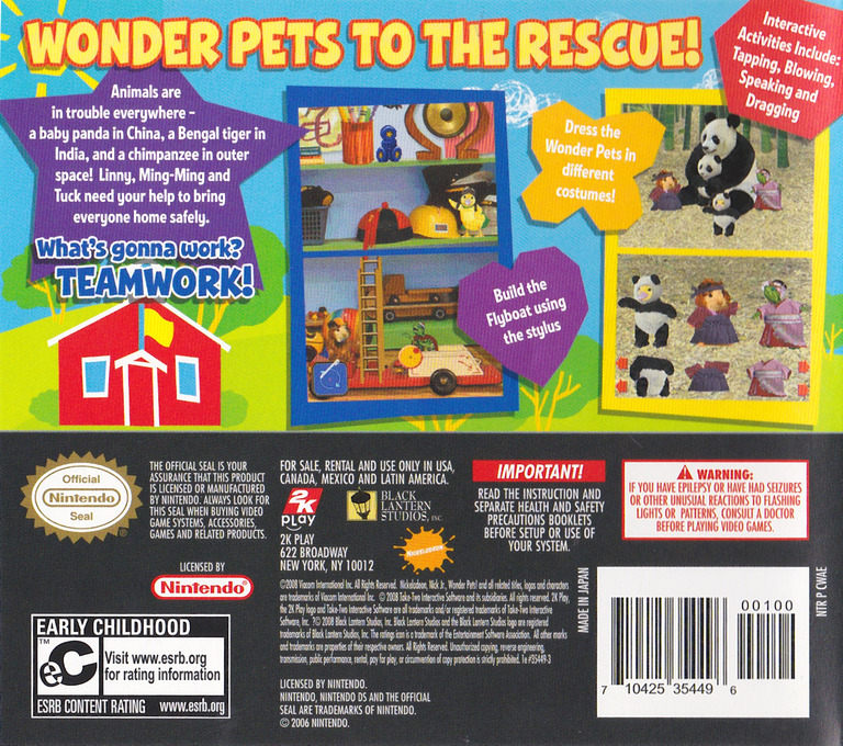 Wonder Pets! - Save the Animals! DS backHQ (CWAE)