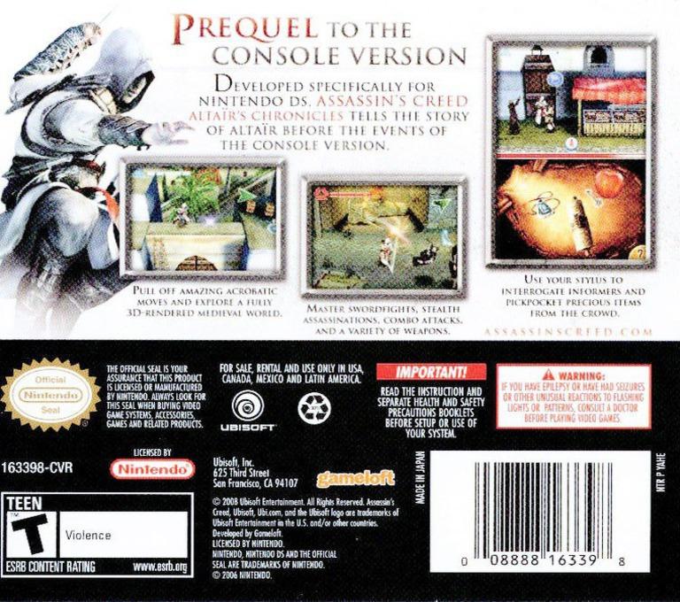 Assassin's Creed - Altaïr's Chronicles DS backHQ (YAHE)